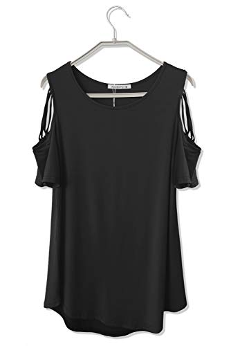Womens Strappy Cold Shoulder Striped T Shirt Loose Crew Neck Short Sleeve Tops