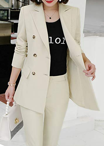 MAKEMECHIC Womens Two-Piece Striped Double Button Breasted Lightweight Blazers Jackets with Pants