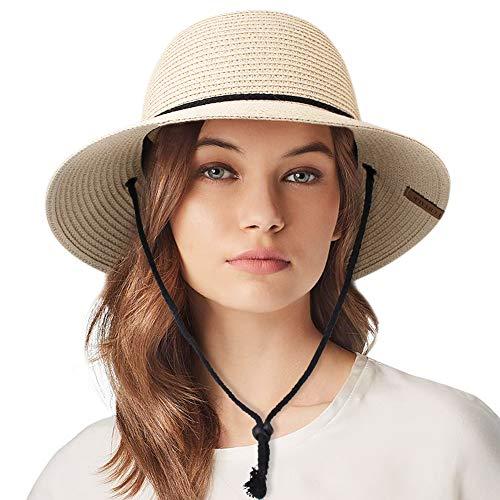 Packable UPF Straw Sunhat Women Summer Beach Wide Brim Fedora Travel Hat Bowknot