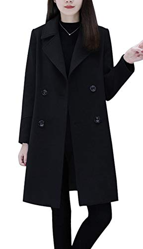 chouyatou Womens Classic Style Notch Lapel Double Breasted Long Trench Coat