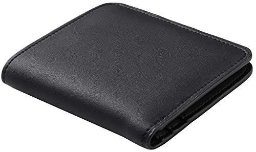 Wax Black Toughergun RFID Blocking Minimalist Genuine Leather Slim Front Pocket Wallet U